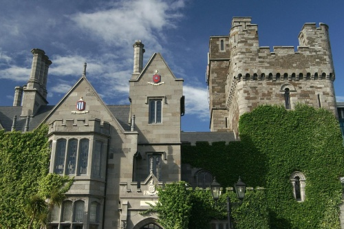 Image depicts Clontarf Castle Exterior. The hotel and fair are ground-level with each wheelchair access.