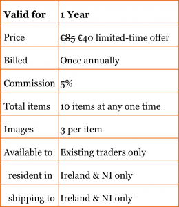 Table which shows details of subscription plan as follows. Price: €40 limited time offer, usual price for the present year is €85. This is billed once annually. Commission fee deducted by the website is 5%. Total items allowed is 10 items at any one time. Up to 3 images per item. Available to existing traders online who are resident in Ireland and Northern Ireland and can offer shipping to both those locations.